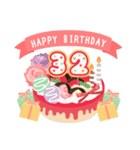 年齢の誕生日お祝いケーキ(1~40歳)(個別スタンプ:32)