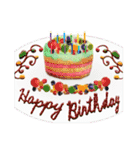 ケーキとお花のお誕生日『Happy birthday』(個別スタンプ:3)