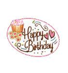 ケーキとお花のお誕生日『Happy birthday』(個別スタンプ:5)