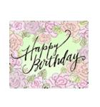 ケーキとお花のお誕生日『Happy birthday』(個別スタンプ:11)