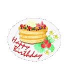 ケーキとお花のお誕生日『Happy birthday』(個別スタンプ:16)
