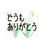 お花の吹き出しに日常挨拶『大きな文字』(個別スタンプ:02)