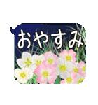 お花の吹き出しに日常挨拶『大きな文字』