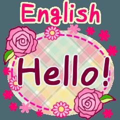 [LINEスタンプ] 英語のあいさつセット「花」