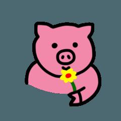 ピンク 幸せな豚さん