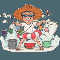 夏の麦藁帽子の少年