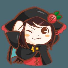 [LINEスタンプ] 黒ずきんちゃんと銀色のおおかみさん (1)