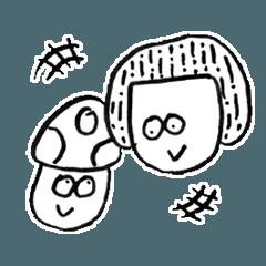[LINEスタンプ] 手書きの女の子とキノコ
