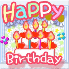 [LINEスタンプ] ▷でか文字☆花のお祝い・誕生日 (1)