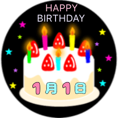 1月生まれの誕生日ケーキ☆日付入り