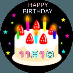 11月生まれの誕生日ケーキ☆日付入り
