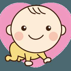 かわいい赤ちゃんが気持ちを伝えるスタンプ