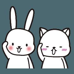 ネコとウサギのほんわか敬語スタンプ