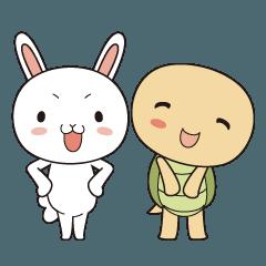 褒め言葉カードスタンプ「ウサギとカメ」版