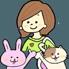 ネコとウサギとむっちゃん