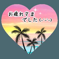 [LINEスタンプ] 南国ハワイ風景とかわいい顔文字たち