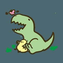 ティラノサウルスとひよこだらけ
