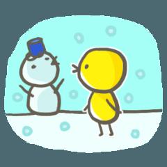 鳥星人スタンプ〜冬風味〜
