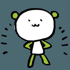緑と白のくまくんスタンプ
