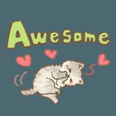可愛い子猫のでか文字スタンプ~英語ver~