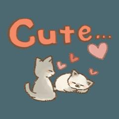 可愛い子猫のでか文字スタンプ~英語ver~2