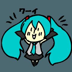 【初音ミク】 ミニミクのシンプルスタンプ