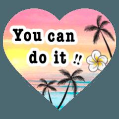 ハワイアンモンステラとヤシの木と簡単英語