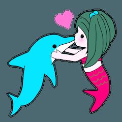 イルカと人魚の女の子