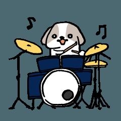 ドラマーのためのドラム犬スタンプ