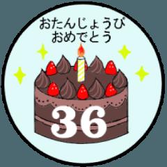 1歳~36歳までの誕生日ケーキ