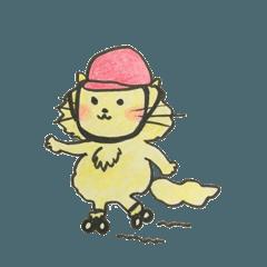 とても幸せな黄色いねこ