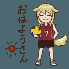 犬のバレーボール選手