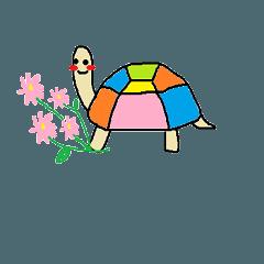 [LINEスタンプ] カラフルカメの挨拶スタンプ
