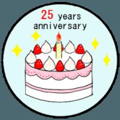 [LINEスタンプ] 1ヶ月~11ヶ月記念.1年~25年記念のケーキ